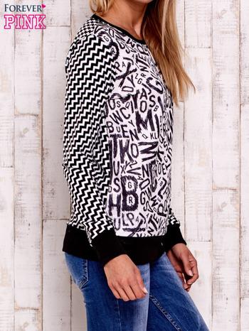 Czarna bluza z nadrukiem liter i graficznym tyłem                                  zdj.                                  3