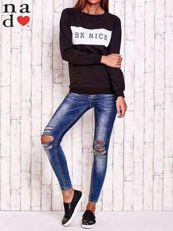 Czarna bluza z napisem BE NICE                                  zdj.                                  3