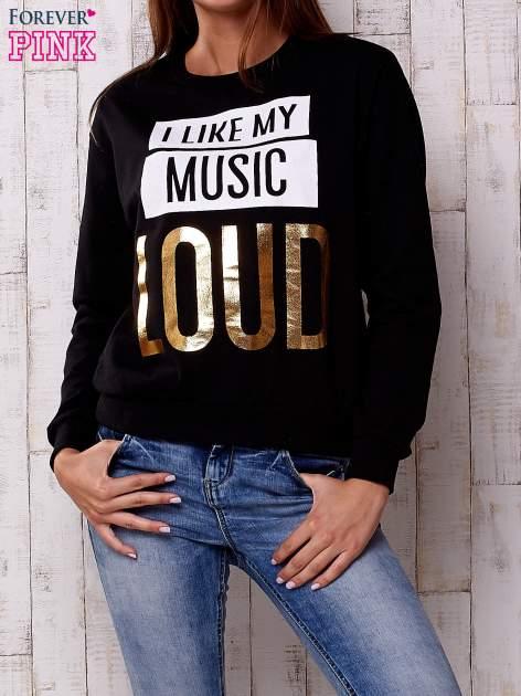 Czarna bluza z napisem I LIKE MY MUSIC LOUD                                  zdj.                                  1