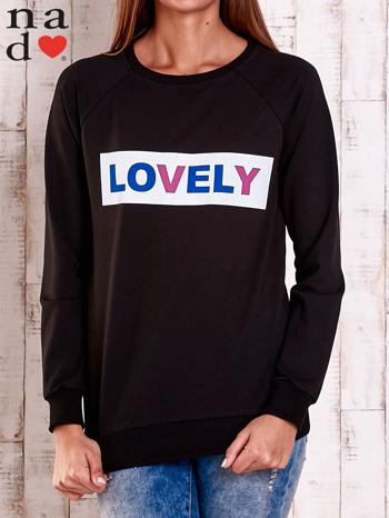 Czarna bluza z napisem LOVELY                                  zdj.                                  1