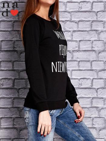 Czarna bluza z napisem MŁODA PIĘKNA NIEWYSPANA                                  zdj.                                  3
