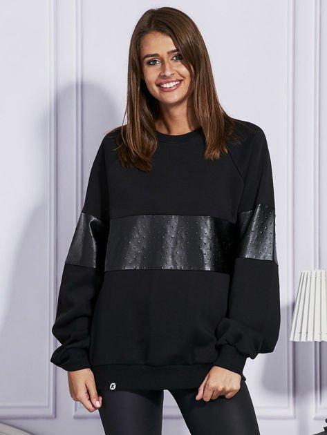 Czarna bluza ze skórzanymi wstawkami                                  zdj.                                  1