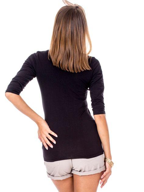 Czarna bluzka V-neck z marszczeniem                              zdj.                              2