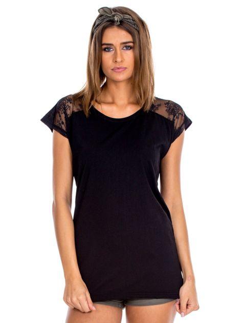 Czarna bluzka damska z ażurowaniem na rękawach                              zdj.                              1
