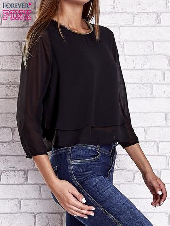 Czarna bluzka koszulowa z biżuteryjnym dekoltem                                  zdj.                                  4