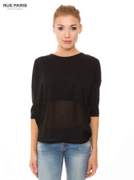 Czarna bluzka oversize z siateczkowym dołem
