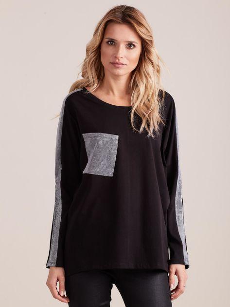 Czarna bluzka oversize ze srebrnymi wstawkami                              zdj.                              1