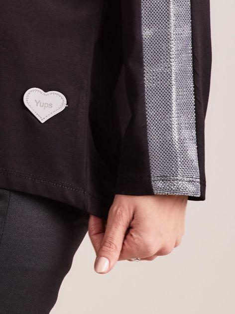 Czarna bluzka oversize ze srebrnymi wstawkami                              zdj.                              7