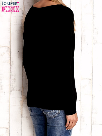 Czarna bluzka z aplikacją w kształcie sowy                                  zdj.                                  4