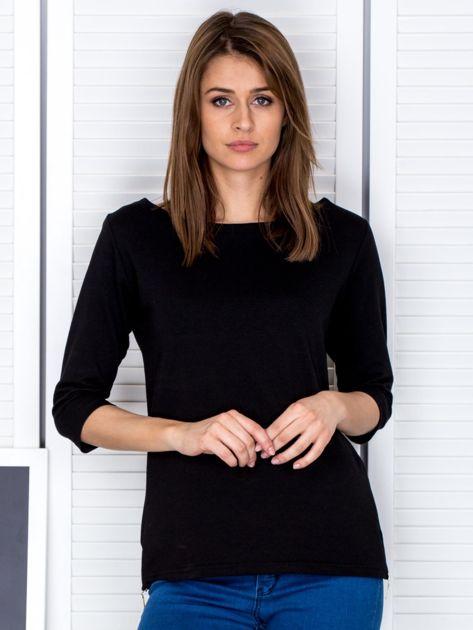 Czarna bluzka z bocznymi suwakami                              zdj.                              1