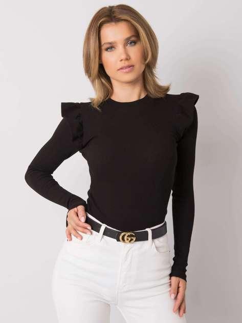 Czarna bluzka z falbankami na ramionach Maeva