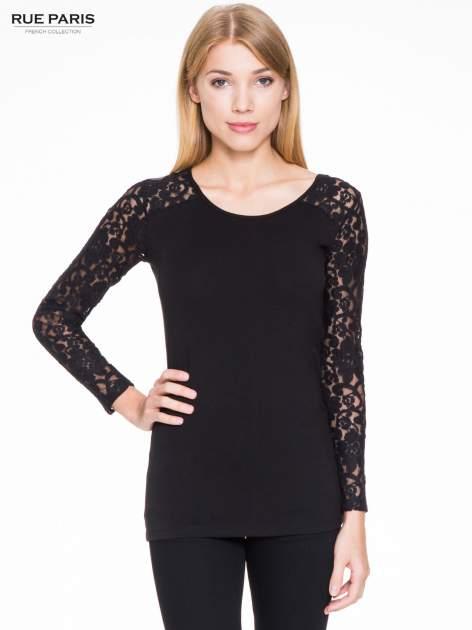 Czarna bluzka z koronkowymi rękawami                                  zdj.                                  1