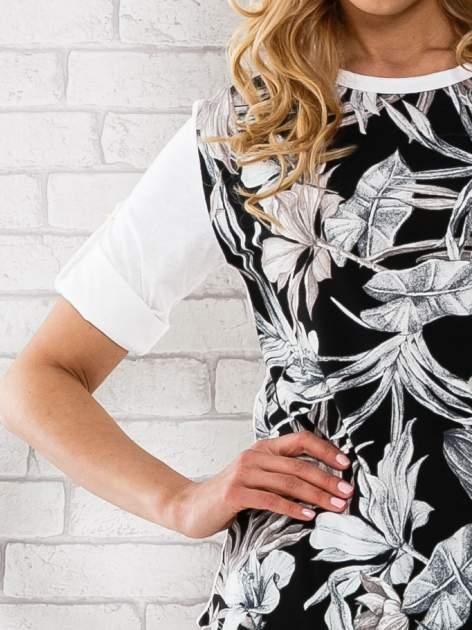 Czarna bluzka z liściastym motywem                                  zdj.                                  5