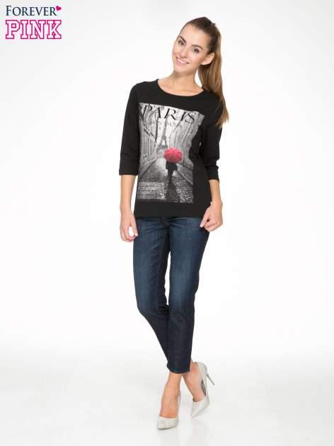 Czarna bluzka z motywem Paryża                                  zdj.                                  5