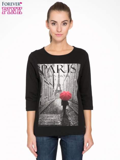 Czarna bluzka z motywem Paryża                                  zdj.                                  1