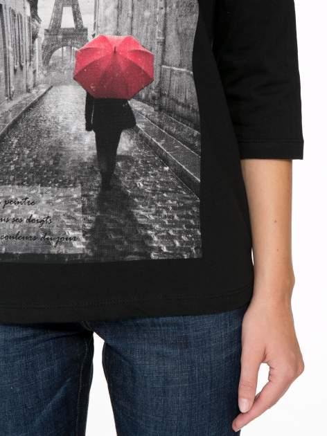 Czarna bluzka z motywem Paryża                                  zdj.                                  7