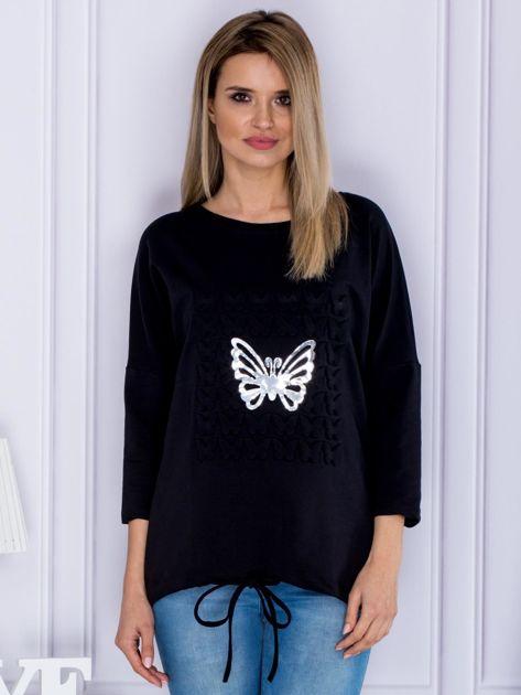 Czarna bluza z motywem motyli                              zdj.                              1