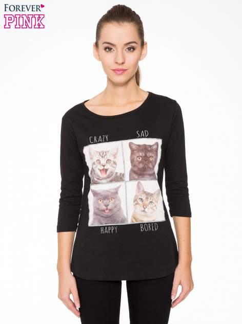 Czarna bluzka z nadrukiem kotów                                  zdj.                                  1