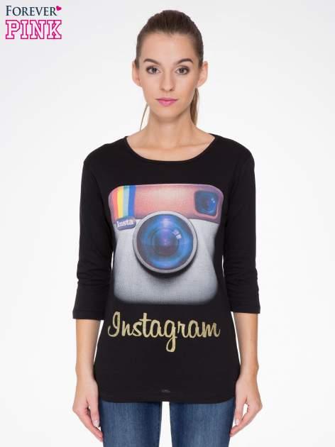 Czarna bluzka z nadrukiem loga Instagrama                                  zdj.                                  1