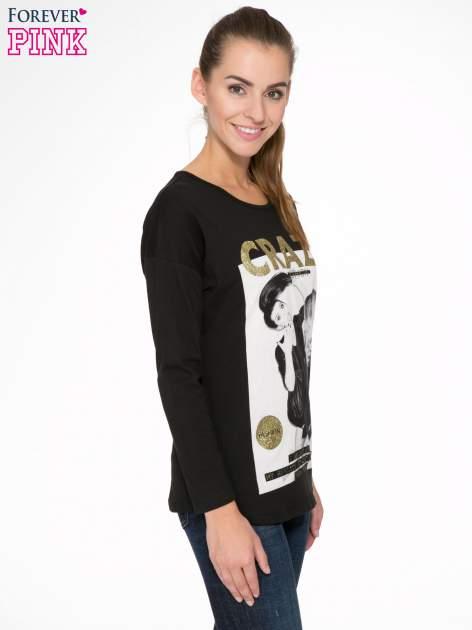 Czarna bluzka z napisem CRAZY i nadrukiem fashionistek                                  zdj.                                  3