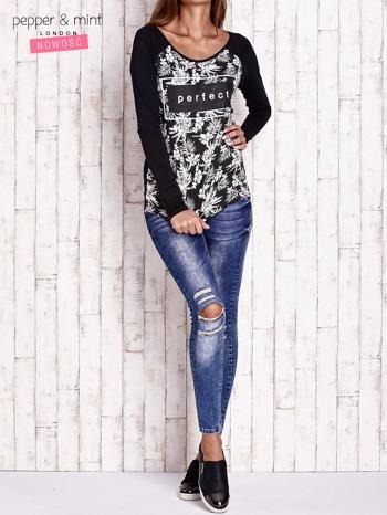 Czarna bluzka z napisem PERFECT i egzotycznymi motywami                                  zdj.                                  4