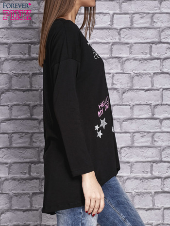 Czarna bluzka z naszywkowymi nadrukami                                  zdj.                                  3