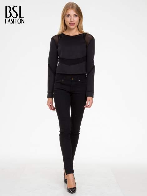 Czarna bluzka z neoprenu z tiulowymi wstawkami                                  zdj.                                  2