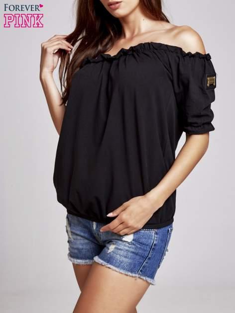 Czarna bluzka z odkrytymi ramionami                                  zdj.                                  3