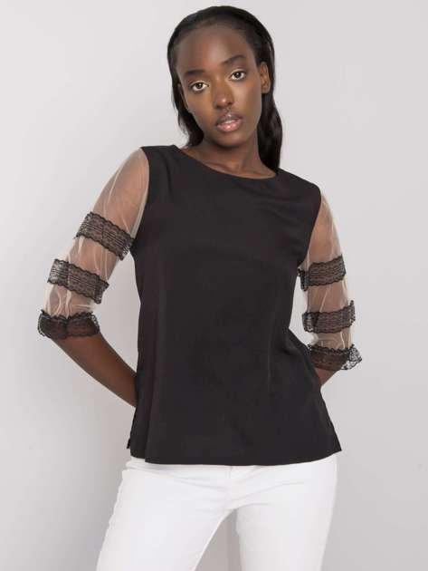 Czarna bluzka z ozdobnymi rękawami Cora