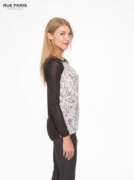 Czarna bluzka z reglanowymi rękawami i kwiatowym przodem                                  zdj.                                  3