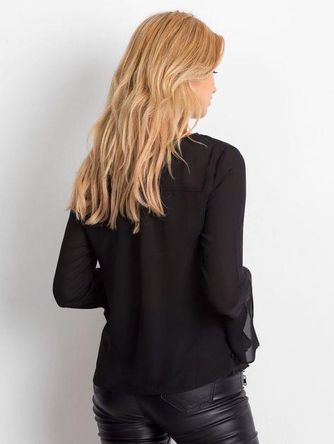 Czarna bluzka z wiązaniem i perełkami                                   zdj.                                  5