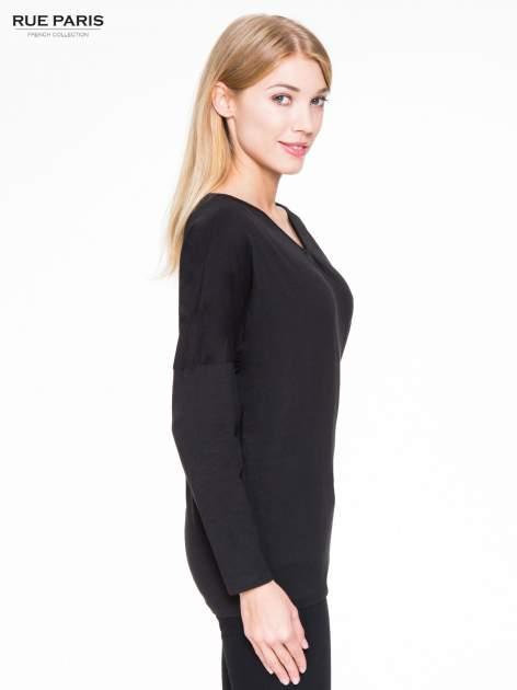 Czarna bluzka z wiązanym oczkiem z tyłu                                  zdj.                                  3