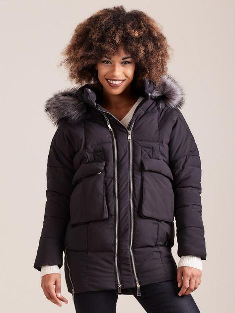 Czarna damska kurtka zimowa                              zdj.                              1
