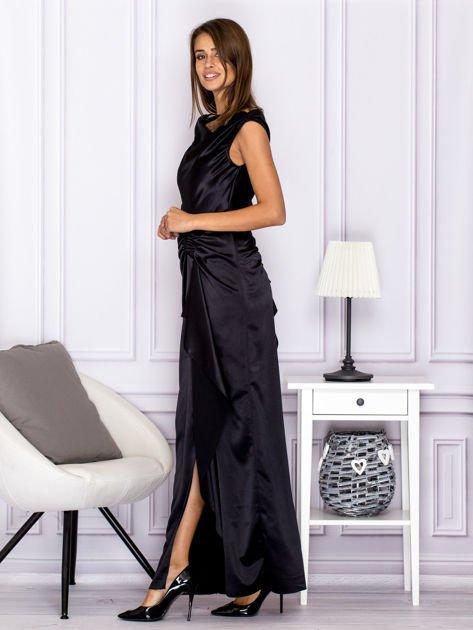 Czarna długa sukienka z falbaną                                  zdj.                                  5