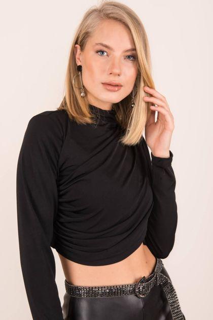 Czarna drapowana bluzka BSL