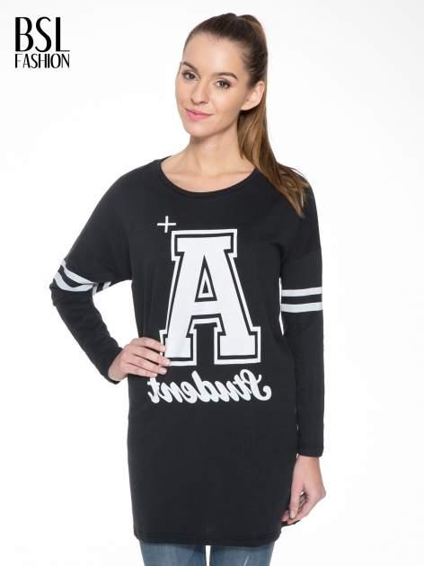 Czarna dresowa bluza z literą A w stylu baseballowym                                  zdj.                                  2