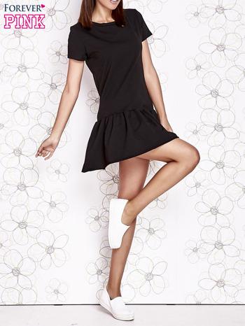 Czarna dresowa sukienka z wycięciem na plecach                                   zdj.                                  6