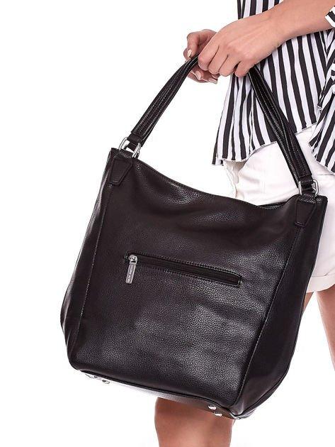 Czarna duża torba z eko skóry                              zdj.                              4