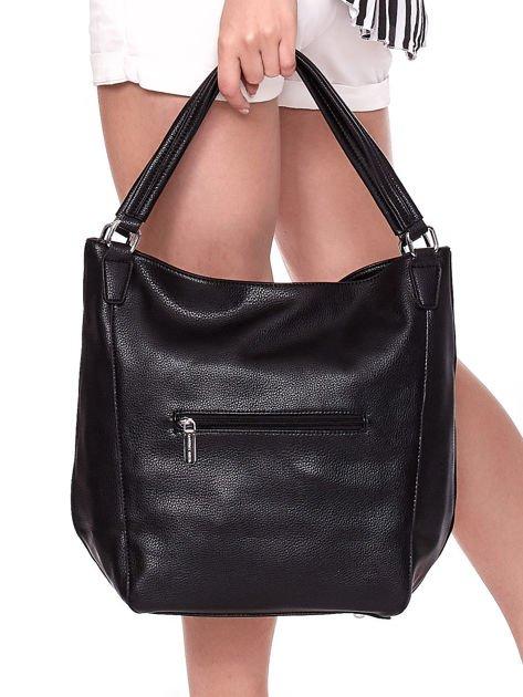 Czarna duża torba z eko skóry                              zdj.                              6