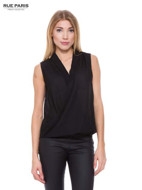 Czarna elegancka koszula z kopertowym dekoltem