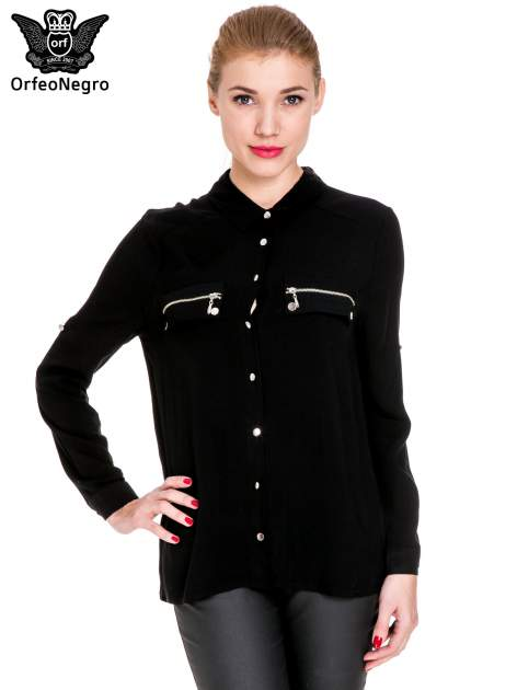 Czarna elegancka koszula z suwakami i napami