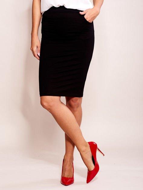 Czarna elegancka spódnica ołówkowa z kieszeniami                              zdj.                              1