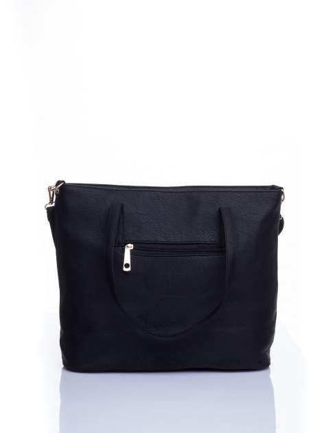 Czarna fakturowana torba shopper bag                                  zdj.                                  3