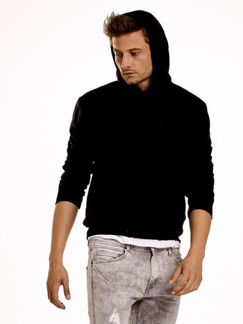 Czarna gładka bluza męska z kieszeniami i kapturem                                  zdj.                                  7