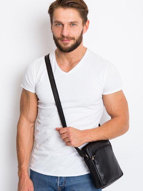 Czarna gładka torba męska na ramię                               zdj.                              2