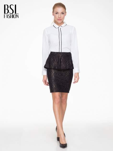 Czarna koronkowa mini spódnica z baskinką                                  zdj.                                  2