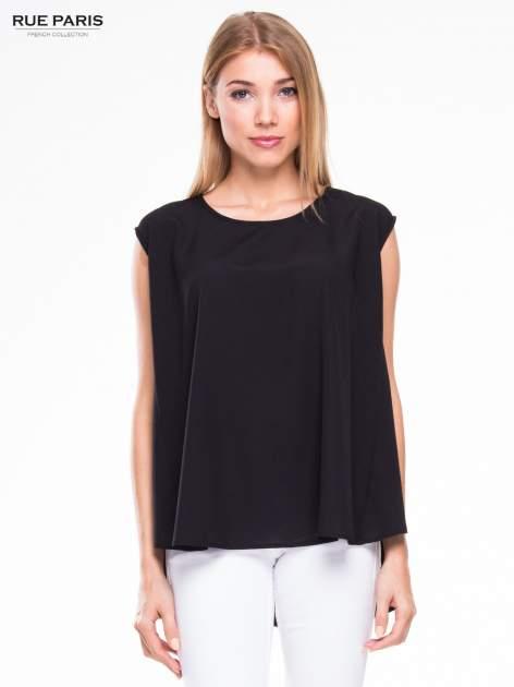 Czarna koszula dzwonek z wydłużanym tyłem                                  zdj.                                  1