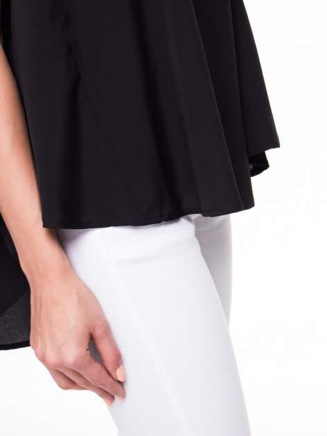 Czarna koszula dzwonek z wydłużanym tyłem                                  zdj.                                  7