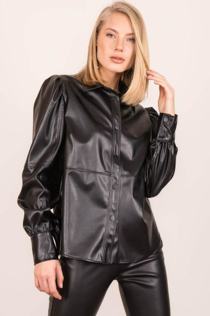 Czarna koszula faux leather BSL