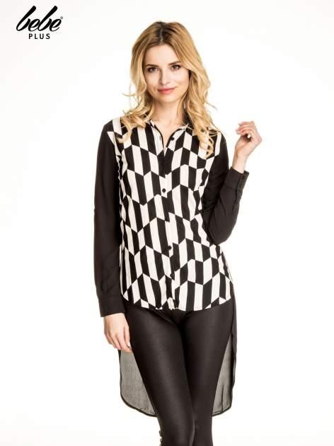 Czarna koszula w geometryczne wzory z dłuższym tyłem                                  zdj.                                  1